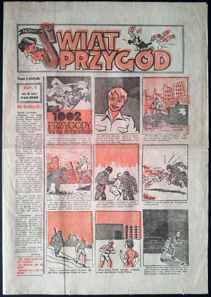 """Pierwszy numer tygodnika """"Nowy Świat Przygód"""" - 27 marca 1946 r. #MUZEUMKOMIKSU"""