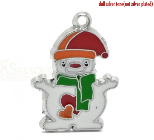 "Wholesale - 20PCs Silver Tone Enamel Christmas Santa Claus Charms Pendants 25mm x 18mm(1""x 6/8"") Cute pendant of snowman $5.79"