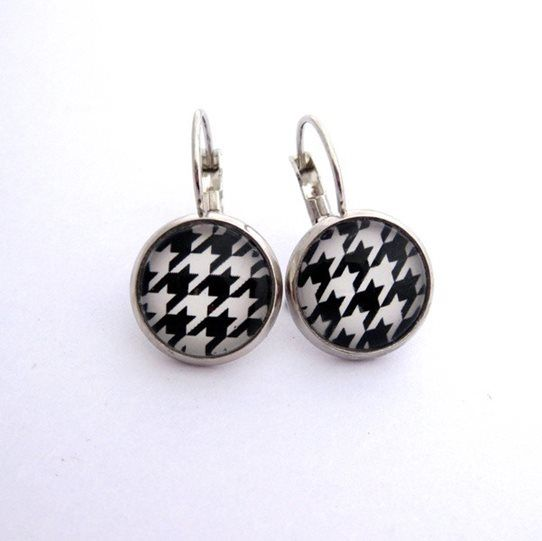 Pretty Birds Creations - Houndstooth Monochrome Earrings from the Fabricated Collection at prettybirds.co.nz