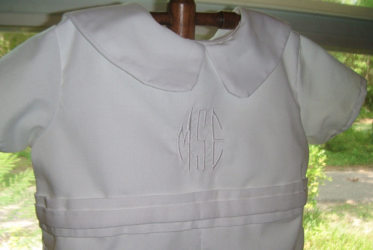 WOW - such a masculine touch for your little man- belt and embroidery- The Affordable Boys Christening, Baptism and Dedication Outfit. $41.50, via Etsy.