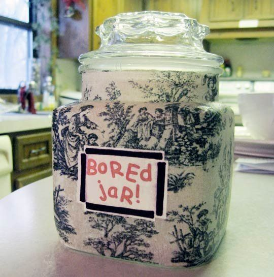 """Some years ago we asked you what you do when your kids declare, """"I'm bored!"""" It's an affliction that is especially rampant during the summer when days are long and activities are fewer. It's taken a while, but we think we've found a clever cure for the boredom blues: the I'm Bored Jar."""