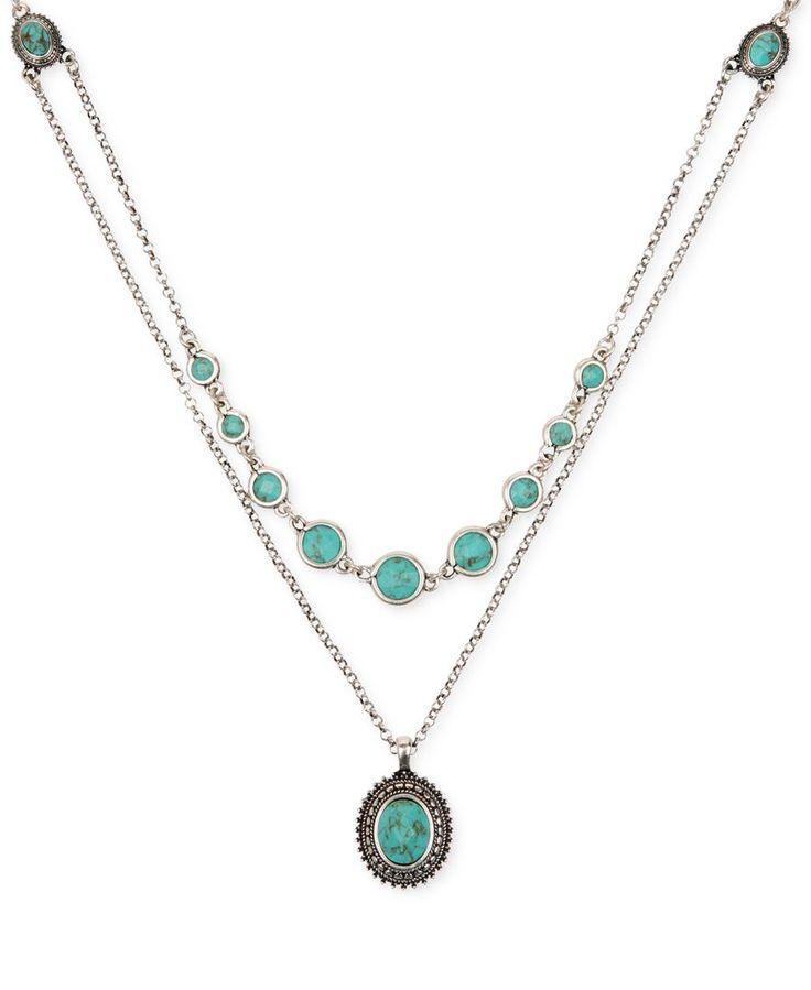 Lucky Brand Silver-Tone Layered Chain and Turquoise Accent Necklace - Fashion Necklaces - Jewelry & Watches - Macy's