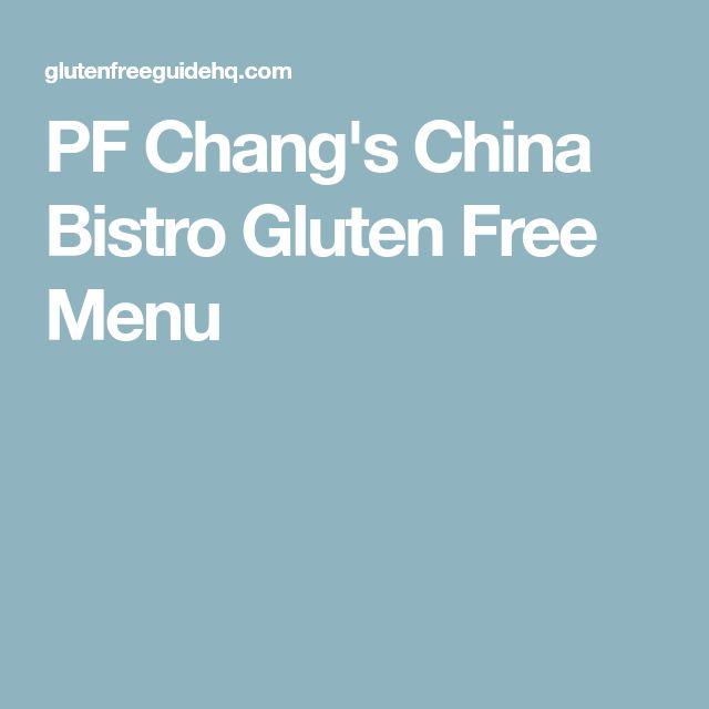 PF Chang's China Bistro Gluten Free Menu