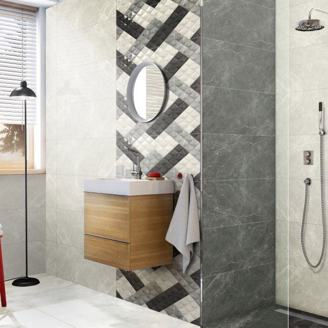 Glazura Balmoral 30 X 90 Cm Optic Silver 1 08 M2 Plytki Scienne Round Mirror Bathroom Silver Decor