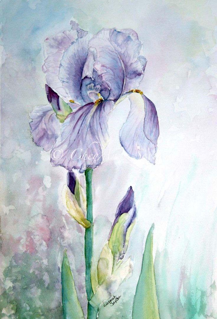 Purple Iris Watercolor Giclee Print Fine Art Home Decor 12x18