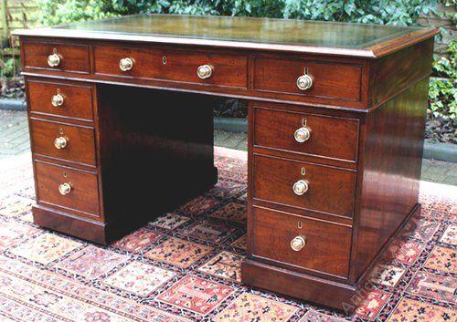 Antique Desk - George 111 Mahogany Pedestal Desk
