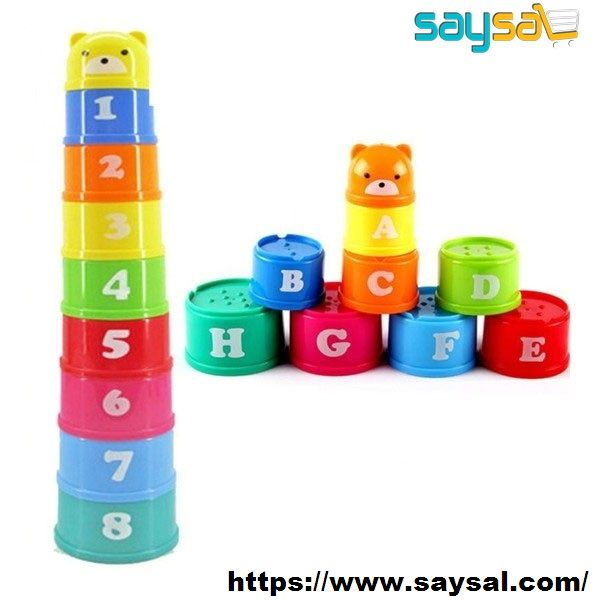 Set//9pcs Staking Up Cups Baby Kids Learn Numbers /& Letters Educational Toys