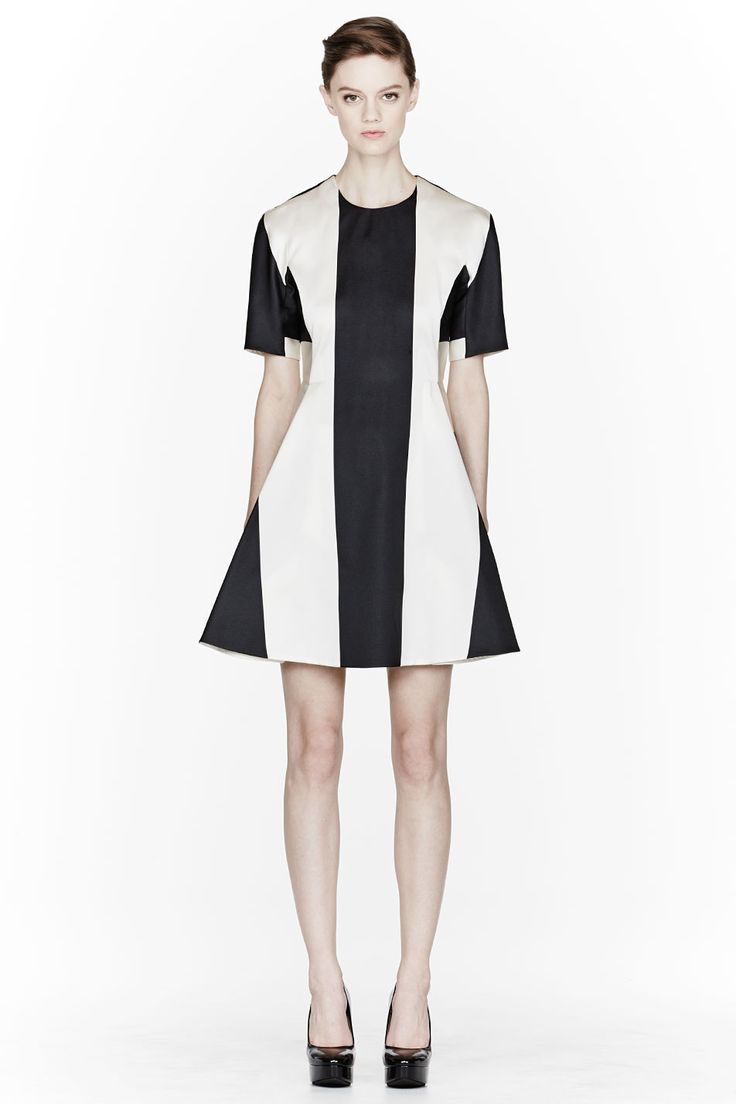Ivory Poly Silk Mix Striped Dress by Stella McCartney