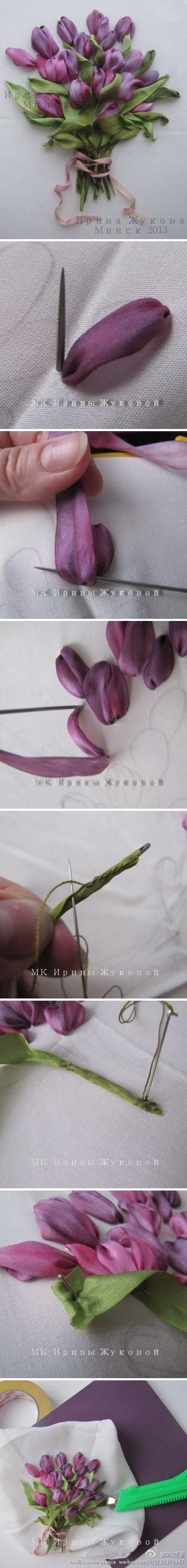 Ribbon embroidery - fabric tulips, never fade.  Too beautiful ...