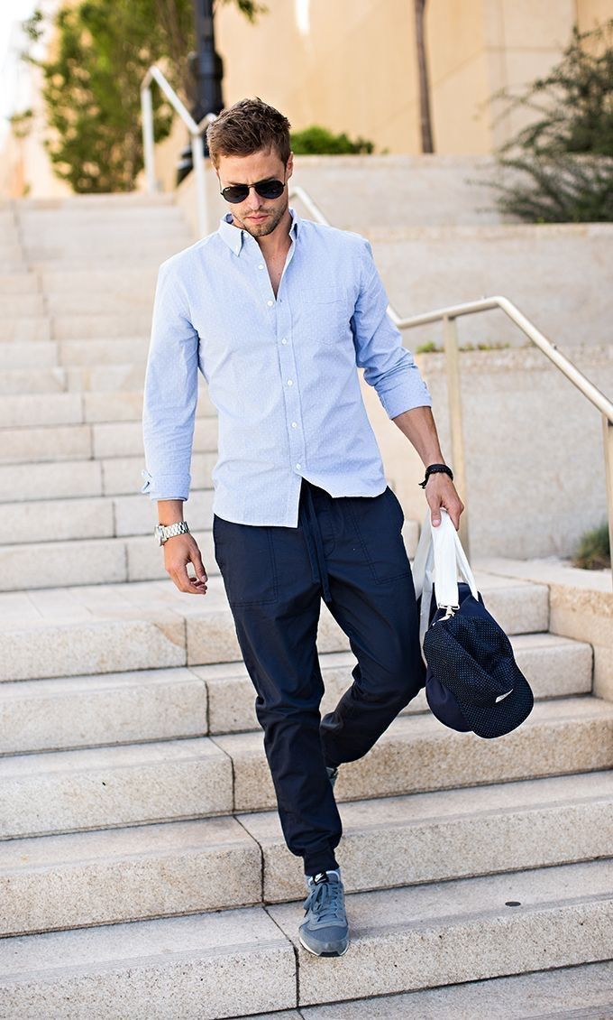Casual Style Inspiration With Light Blue Shirt Dark Blue