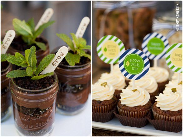 Plant Parfaits: 2 1-oz. boxes chocolate pudding mix 1 package chocolate sandwich cookies Fresh mint leaves Prepare chocolate pudding as directed on package. Use a rolling pin or mallet to crush cookies. Layer Cookies and pudding in mason jar. Poke fresh mint leaves into the top of each parfait.