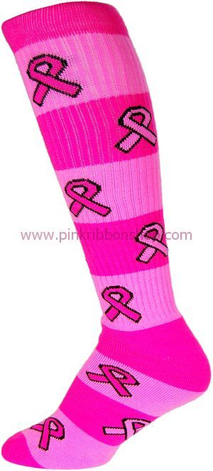 softball pink out shirts | Rugby Striped Socks with Knit-In Pink Ribbons
