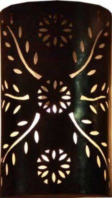 Hand pierced tube Moroccan metal wall lampshade only - Black - H35 W24 Cm