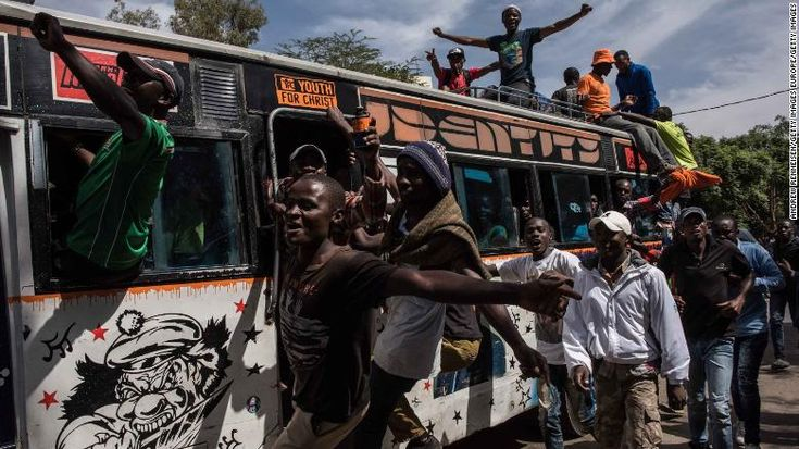 "KENYA, Nairobi - Kenya TV stations still off air despite court order - February 2, 2018.  Jubilant opposition supporters demonstrate prior to a mock ""swearing-in"" ceremony of presidential candidate Raila Odinga on January 30."