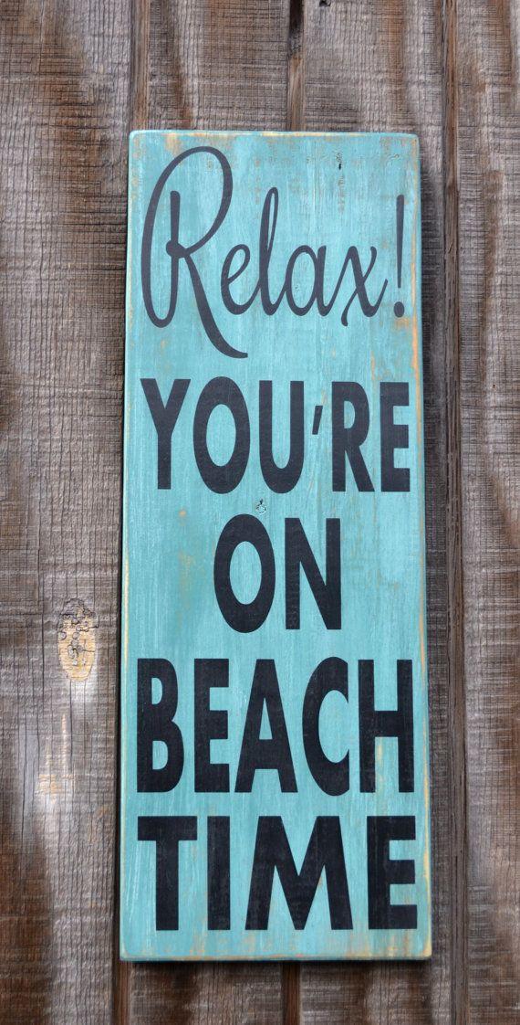 Beach Decor  Beach Sign  Beach House Nautical Coastal Decor  Relax You're On Beach Time Hand Painted Reclaimed Wood Sign by TheSignShoppe