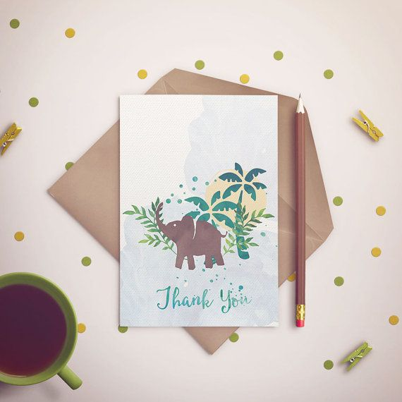 Baby Elephant Thank You Card /  Safari Baby by InvitatiiCouture