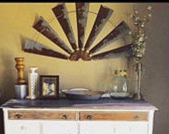 Windmill Half Metal Farmhouse Wall Art 60 Inch Gift Idea Blades Vintage Rustic Home Decor Fixer Upper Fan