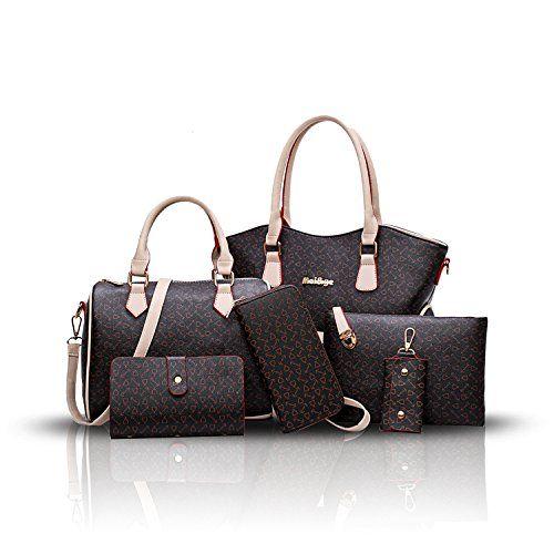 f63cba80a717 Sdinaz 2018 ladies handbags retro bone-printed 6-piece fashion ...