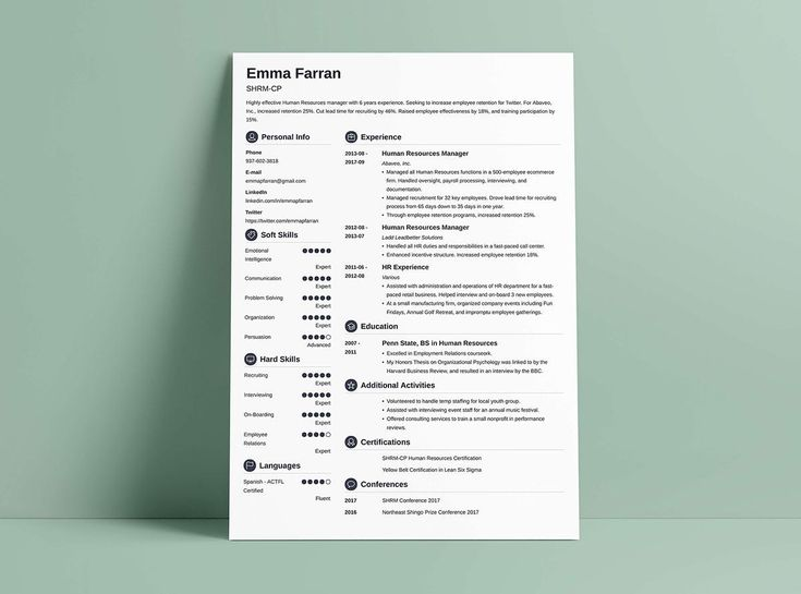 Another of our favorites here at Uptowork - the clean Crisp resume template made using our resume builder.  It's got a left-hand sidebar, but a full-width header area up top for your name, title, and all-important resume summary or objective. In the skills and language sections, colored circles detail your level of each. Icons precede each resume section for a modern feel.  It uses a white background, black text, and a color of your choice for heading titles, or reverse that, if you wish,