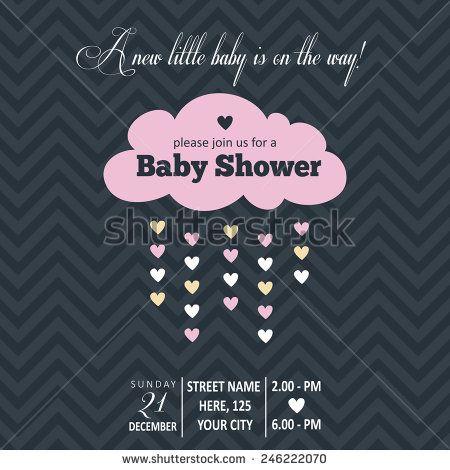 Baby girl  invitation for baby shower, vector format - stock vector