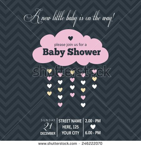 Baby girl  invitation for baby shower, vector format - stock vector