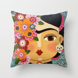 50% off 10 different styles of 16 x16 Frida Kahlo pillows by LuLu MyPinkTurtle
