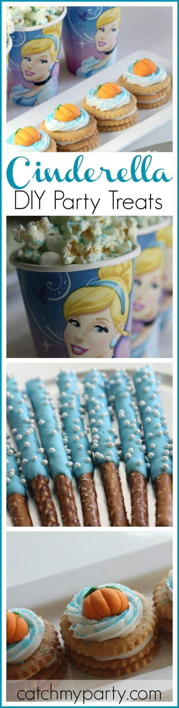 Check out my Cinderella birthday party dessert table treat ideas! These DIYs are all simple to make and would look great at a gorgeous Cinderella princess party! See more Cinderella parties at CatchMyParty.com