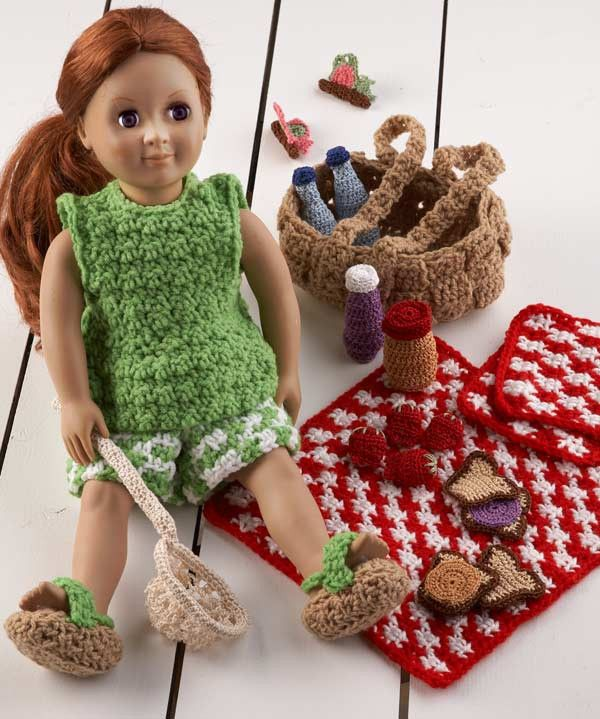 "Maggie's Crochet · 18"" Doll Picnic Fun Set Crochet Pattern"