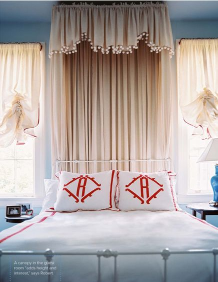 I'm a sucker for a good pom pom.Guest Room, Pom Poms, Beds Canopies, Fourth Of July, Pompom, Interiors Design, Monograms Pillows, Bedrooms, Chinoiserie Chic