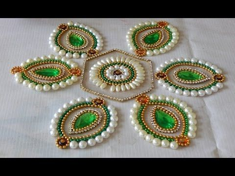 How to Make rearrangeable kundan Rangoli (hexagon flower) - YouTube
