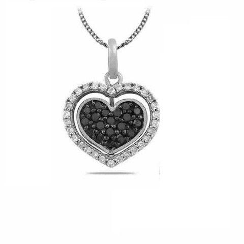 Black Diamond Heart Pendant