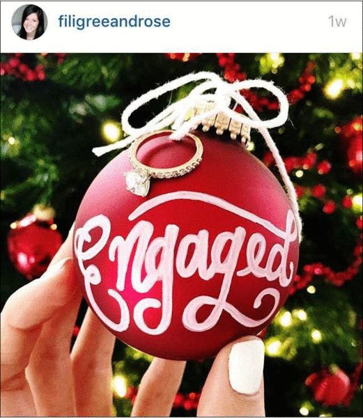 Engagement Ring In Christmas Ornament Part - 26: Creative Ways To Announce Your Engagement On Instagram