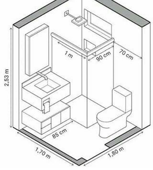 Dimensões para um pequeno banheiro! /  Dimensions for a small…