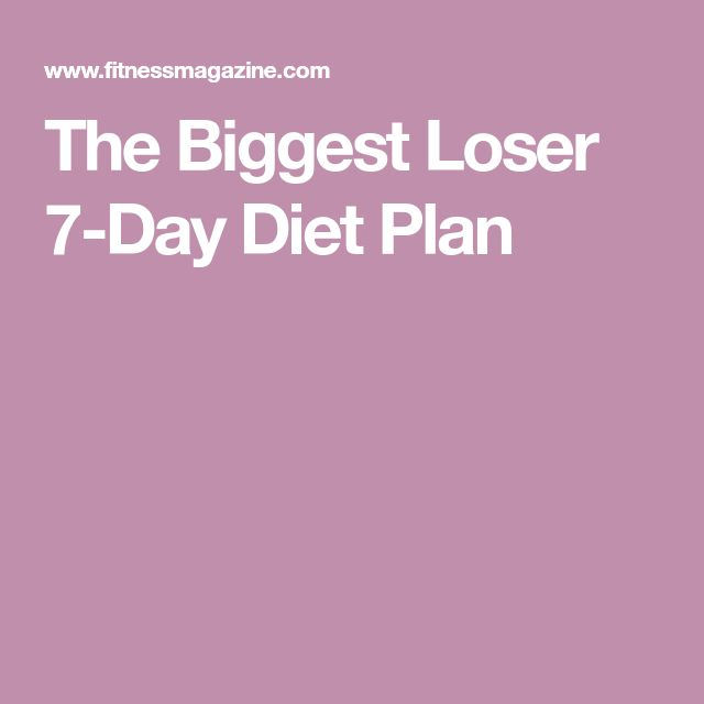 The Biggest Loser 7-Day Diet Plan