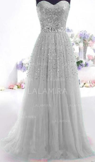 Floor-Length Sleeveless A-Line/Princess Tulle – Prom Dresses (018196653)