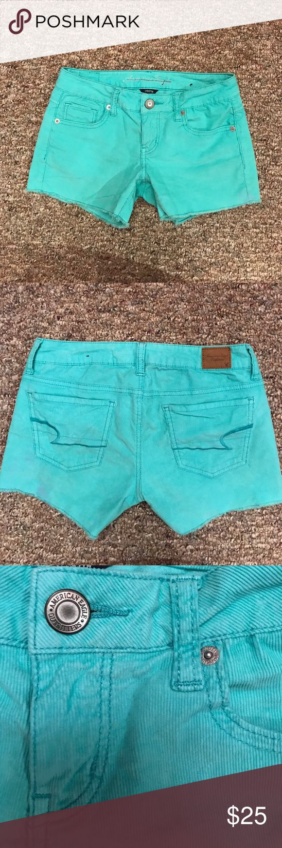 American Eagle Stretch Ribbed Aqua Shorts 0 These are too small for me as you can see in the pictures. 😪 They are adorable though, in perfect condition, great color and love the stretch.  The color is like mint green/aqua-ish. More on the mint green. American Eagle Outfitters Shorts