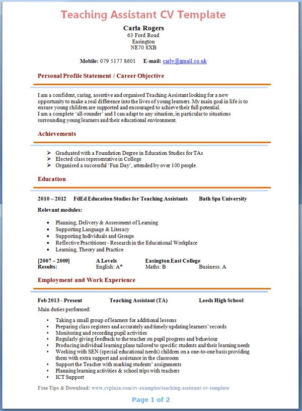 Pin By Laurore Estada On Resume Examples Teacher Resume Examples Teaching Assistant Job Description Teacher Assistant