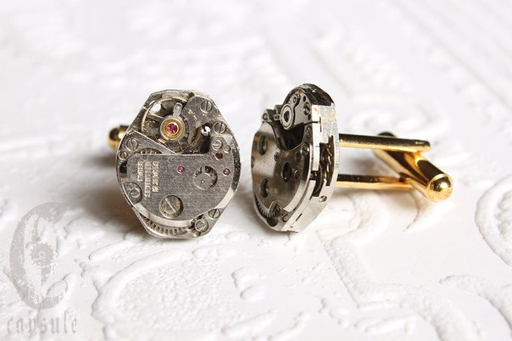 Steampunk Wedding Vintage Gold Plated Diamond Shaped Cufflinks with Vintage…
