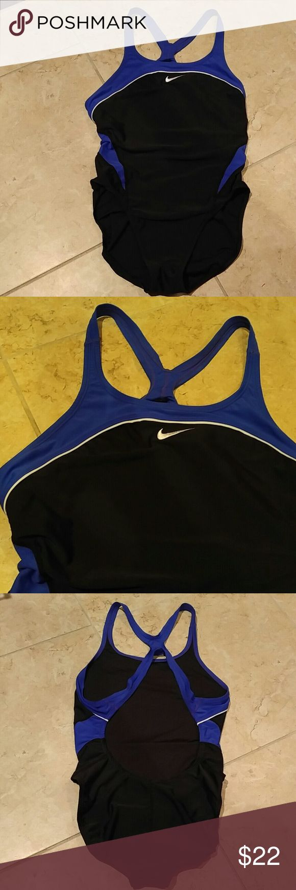 NIKE Swimsuit NIKE Black/Blue Swimsuit with sports Cut out Nike Swim One Pieces
