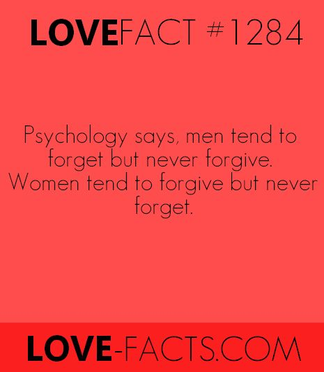 Did you know? Psychology says, men tend to forget but never forgive. Women tend to forgive but never forget [Love Facts on Facebook]