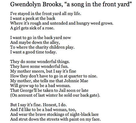 the theme of abortion in gwendolyn brooks poem the mother A selective list of online literary criticism for the mid-twentieth-century african american poet gwendolyn brooks and how her mother example of a poem to.