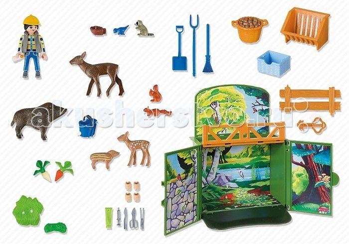 Конструктор Playmobil Возьми с собой: Лесные животные  Playmobil Возьми с собой: Лесные животные подойдет для игр детей возрастом от 4 до 10 лет. В набор входит фигурка человека, а также фигурки животных и дополнительные аксессуары, с помощью которых ребенок сможет собрать небольшой загончик. Элементы конструктора выполнены из качественного, прочного и нетоксичного пластика. Универсальные размеры фигурок Playmobil позволяют сочетать наборы с другими из разных серий. Малыш будет с…
