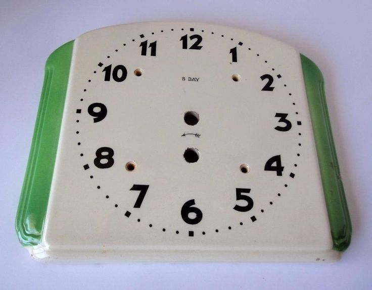 Porcelain Wall Clock Face Green and White
