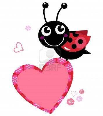 Happy cute Ladybug with Valentines heart. Vector Illustration