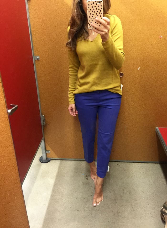 Fall work fashion: Mustard yellow sweater, cobalt blue ankle pant