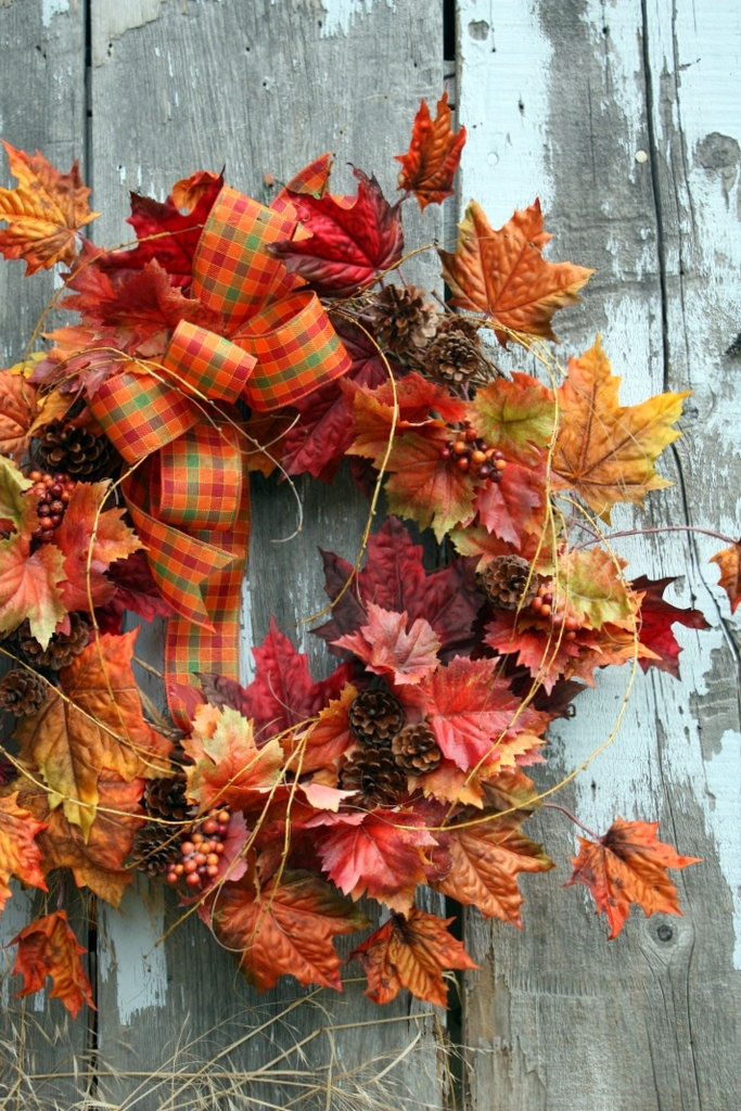 Fall Wreath, Maple Leaves, Pinecones, Plaid Bow, via Etsy.