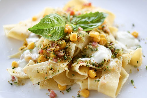 Pasta with Corn, Burrata, Pancetta and Chilies