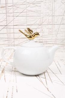 Large Gold Bird Teapot