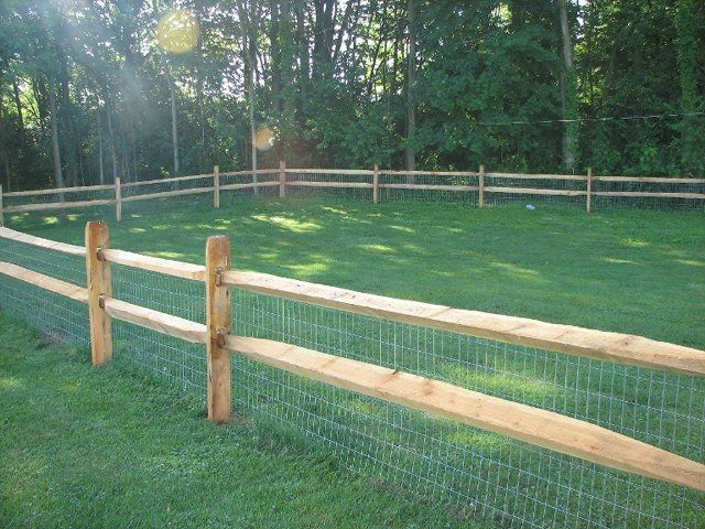 split rail 2rail locust post split hemlock raill with 2x4 mesh wire backing