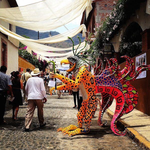 A giant alebrije at the cultural festival